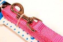 nylon dog leash pink medium