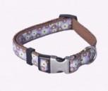 AC Brown Organic Cotton Dog Collar with Ribbon