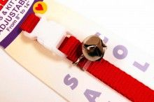 nylon cat collar red with bell and breakaway